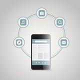 Smartphone moderno con differenti icone Fotografia Stock Libera da Diritti