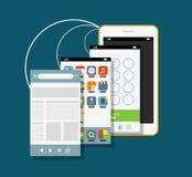 Smartphone moderno con diversas pantallas del uso ilustración del vector