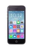 Smartphone moderno negro con los iconos del uso en la pantalla Imagenes de archivo