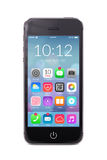 Smartphone moderno nero con le icone dell'applicazione sullo schermo Immagini Stock