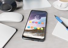 Smartphone moderno que coloca na rendição desktop do modelo 3d ilustração stock