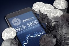 Vertical smartphone with Monero trading chart on-screen among piles of silver Monero coins. royalty free illustration