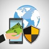 Smartphone money banking safe shield protection. Vector illustration eps 10 Royalty Free Stock Image