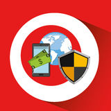 Smartphone money banking safe shield protection. Vector illustration eps 10 Stock Photos