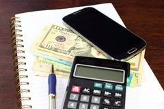 Smartphone money business composition Stock Photos