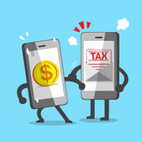 Smartphone with money coin and smartphone with tax letter. For design Stock Image