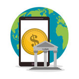 Smartphone of money concept Stock Images