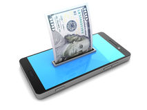 Smartphone and money Royalty Free Stock Images