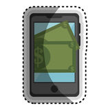 Smartphone with money device isolated icon Stock Image