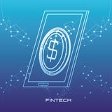 Smartphone with money fintech concept. Vector illustration design Royalty Free Stock Photo