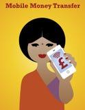 Smartphone Money Girl. Mobile money transfer Stock Photography