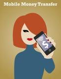 Smartphone Money Girl. Mobile money transfer Stock Photo
