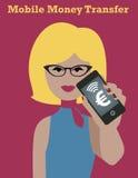 Smartphone Money Girl. Mobile money transfer Stock Photos