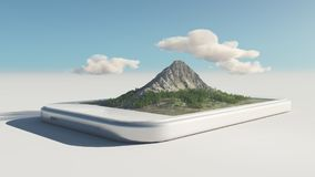 A smartphone with mountain. On touch screen. This is a 3d render illustration Royalty Free Stock Photo