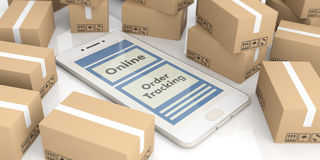 Smartphone on moving boxes background. 3d illustration Stock Photography
