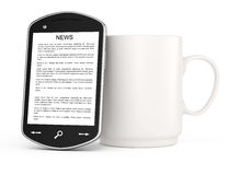Smartphone and mug Stock Images