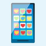 Smartphone with multi-colored hearts on the screen. Modern phone smartphone with multi-colored hearts on Valentines Day screen royalty free illustration