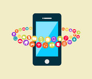 Smartphone with multimedia applications. Mobile phone applications technology Stock Photos