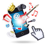 Smartphone and multimedia objects Stock Photos