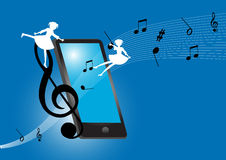 Smartphone. With music on blue background vector illustration