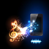 Smartphone with music note light design Stock Image