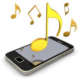 Smartphone Music Notes. Smartphone with golden music notes on the white background Stock Images