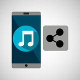 Smartphone music online share Stock Photography