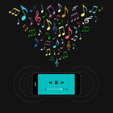 Smartphone with music player and colorful notes. Stock Image