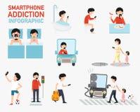 Smartphone nałóg infographic wektor royalty ilustracja