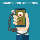 Smartphone nałóg, kajdanki ilustracja wektor