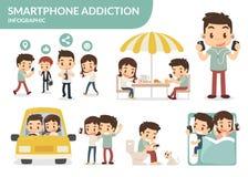 Smartphone nałóg Obraz Royalty Free