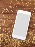 Smartphone na madeira, macarronetes do alfabeto, app, cozinhando o app Imagens de Stock Royalty Free
