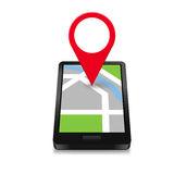 Smartphone Navigation. Icon and Map with Red Marker Royalty Free Stock Image