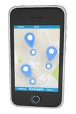 Smartphone with navigation map Stock Photo