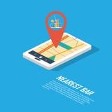 Smartphone navigation in modern flat design with a. Symbol of drinking, pub, club, bar. Eps10 vector illustration royalty free illustration