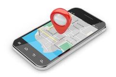 Smartphone navigeringbegrepp Arkivbilder