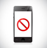 Smartphone with a negative sign. Dont. Stock Photos