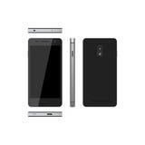 Smartphone negro en un fondo blanco Teléfono en distintas vistas stock de ilustración