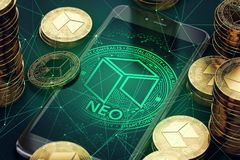 Smartphone with NEO symbol on-screen among piles of golden NEO coins. Blockchain transfers concept. 3D rendering Stock Images