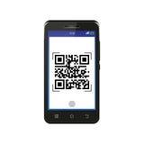 Smartphone nero che esplora codice di QR Fotografia Stock
