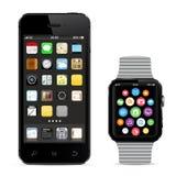 Smartphone nero con l'orologio astuto Fotografie Stock Libere da Diritti