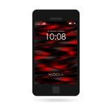 Smartphone nero con la carta da parati a strisce isolata Fotografia Stock
