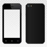 Smartphone nero realistico con lo schermo trasparente isolato Vista dell'esposizione della parte posteriore e della parte anterio Fotografia Stock