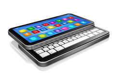 Smartphone, Netbook - relação dos ícones dos apps Fotos de Stock Royalty Free