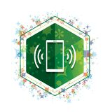 Smartphone network signal icon floral plants pattern green hexagon button vector illustration