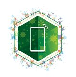 Smartphone network signal icon floral plants pattern green hexagon button royalty free illustration