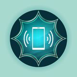 Smartphone network signal icon magical glassy sunburst blue button sky blue background royalty free stock images