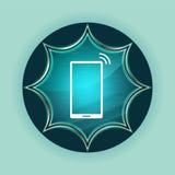 Smartphone network signal icon magical glassy sunburst blue button sky blue background royalty free illustration