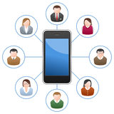 Smartphone Networking People. Social media network community concept with a generic smartphone and people avatars. Eps file available Stock Illustration