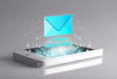 Smartphone with new message icon. Stock Photo